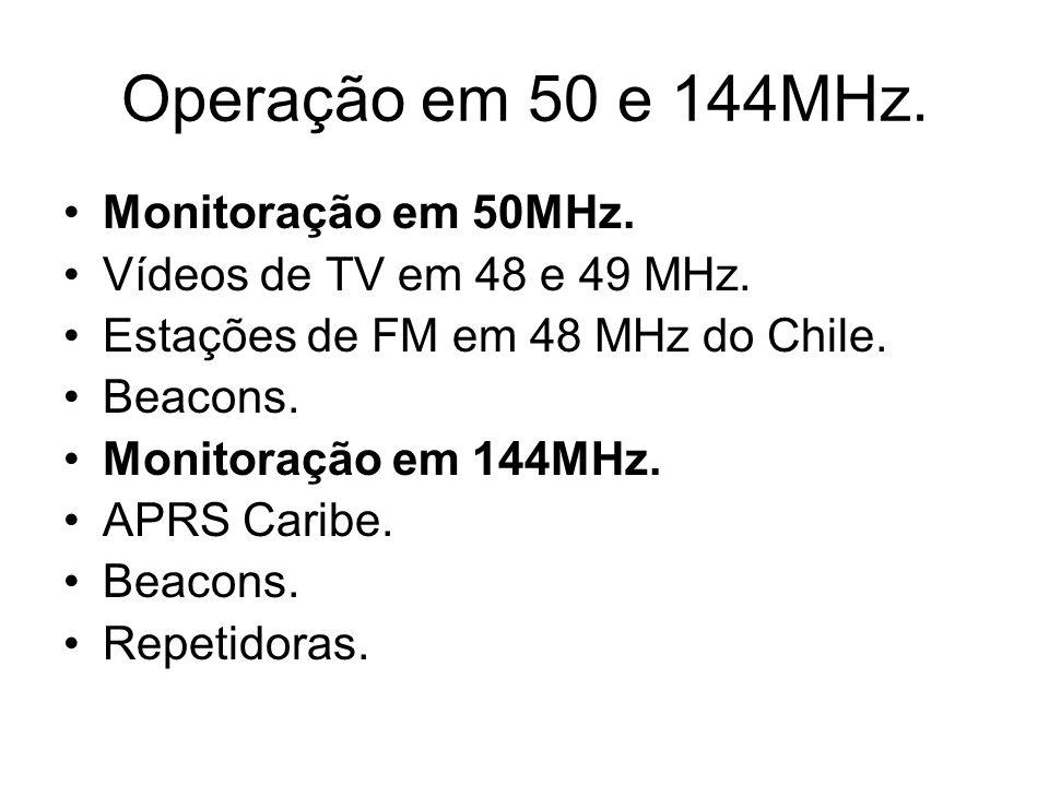 Operação em 50 e 144MHz. Monitoração em 50MHz. Vídeos de TV em 48 e 49 MHz.