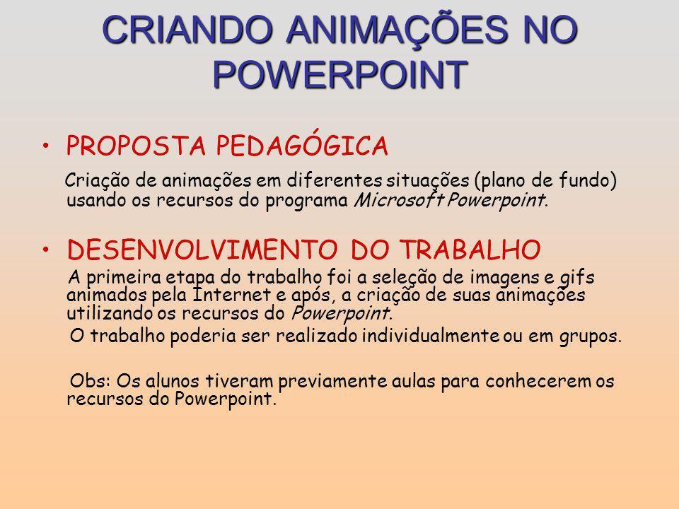 CRIANDO ANIMAÇÕES NO POWERPOINT PROPOSTA PEDAGÓGICA Criação de animações em diferentes situações (plano de fundo) usando os recursos do programa Micro