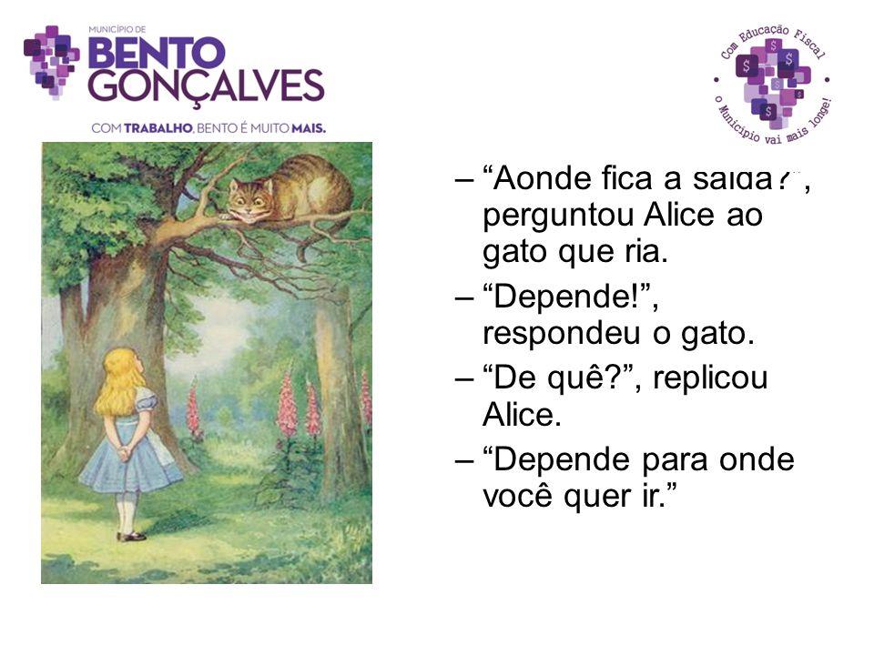 """–""""Aonde fica a saída?"""", perguntou Alice ao gato que ria. –""""Depende!"""", respondeu o gato. –""""De quê?"""", replicou Alice. –""""Depende para onde você quer ir."""""""