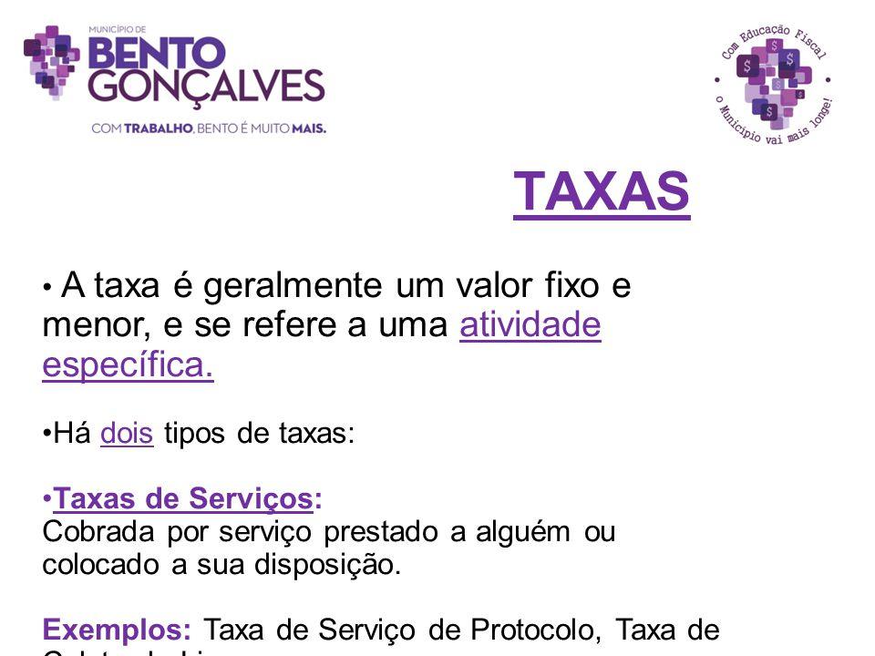 TAXAS A taxa é geralmente um valor fixo e menor, e se refere a uma atividade específica. Há dois tipos de taxas: Taxas de Serviços: Cobrada por serviç