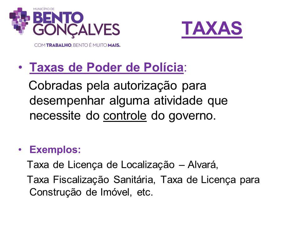 TAXAS Taxas de Poder de Polícia: Cobradas pela autorização para desempenhar alguma atividade que necessite do controle do governo. Exemplos: Taxa de L