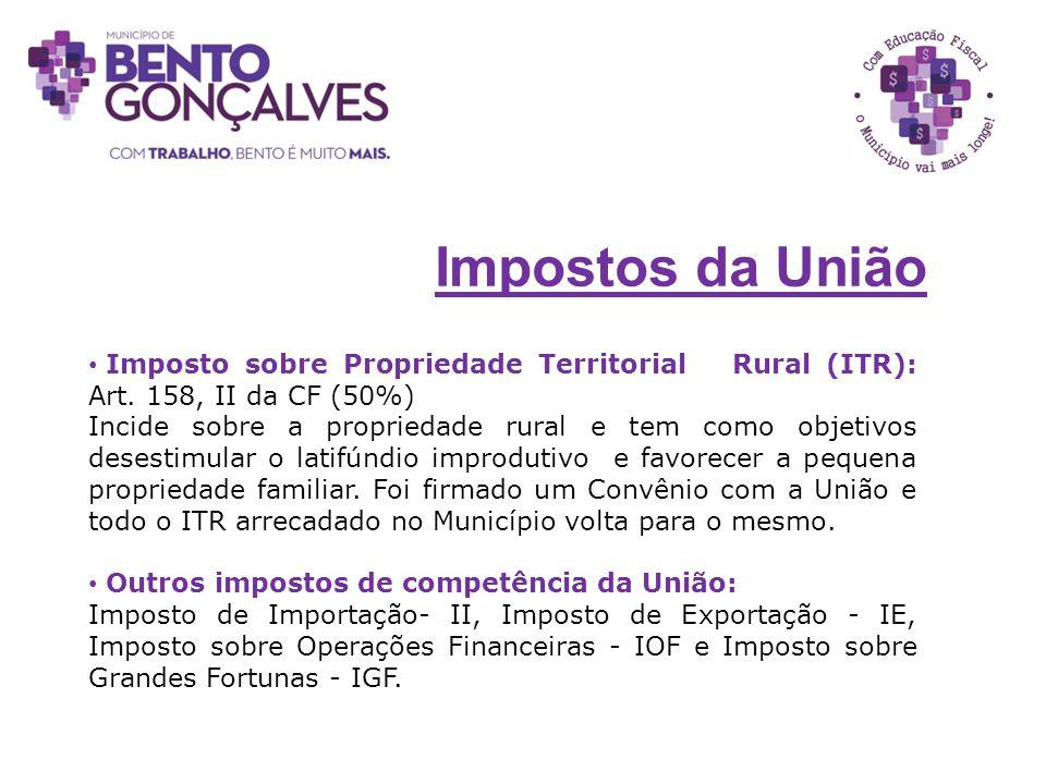 Imposto sobre Propriedade Territorial Rural (ITR): Art. 158, II da CF (50%) Incide sobre a propriedade rural e tem como objetivos desestimular o latif