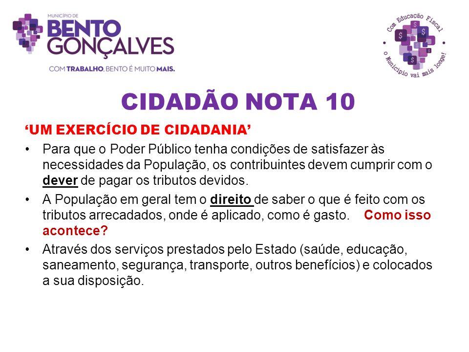 CIDADÃO NOTA 10 'UM EXERCÍCIO DE CIDADANIA' Para que o Poder Público tenha condições de satisfazer às necessidades da População, os contribuintes deve