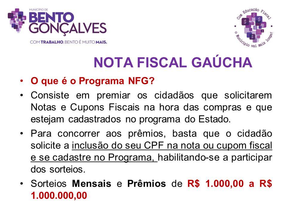 NOTA FISCAL GAÚCHA O que é o Programa NFG? Consiste em premiar os cidadãos que solicitarem Notas e Cupons Fiscais na hora das compras e que estejam ca