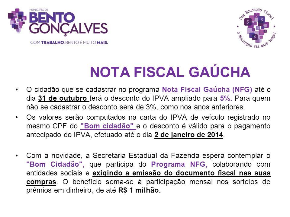 NOTA FISCAL GAÚCHA O cidadão que se cadastrar no programa Nota Fiscal Gaúcha (NFG) até o dia 31 de outubro terá o desconto do IPVA ampliado para 5%. P
