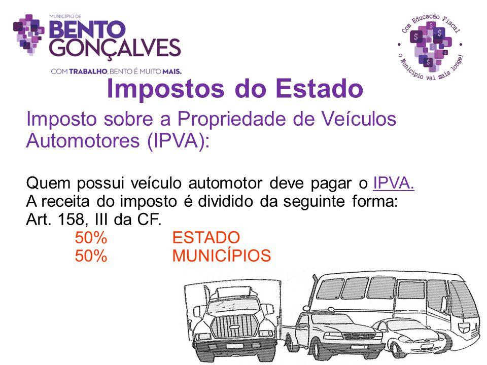 Impostos do Estado Imposto sobre a Propriedade de Veículos Automotores (IPVA): Quem possui veículo automotor deve pagar o IPVA. A receita do imposto é