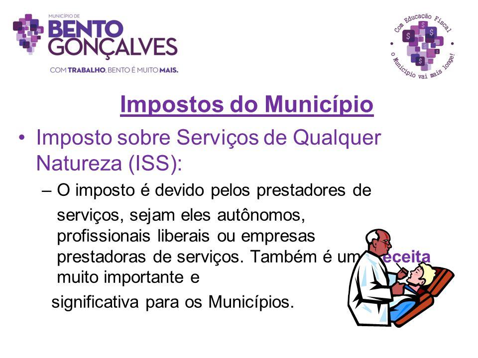 Impostos do Município Imposto sobre Serviços de Qualquer Natureza (ISS): –O imposto é devido pelos prestadores de serviços, sejam eles autônomos, prof