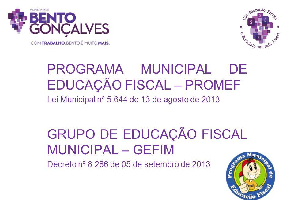 PROGRAMA MUNICIPAL DE EDUCAÇÃO FISCAL – PROMEF Lei Municipal nº 5.644 de 13 de agosto de 2013 GRUPO DE EDUCAÇÃO FISCAL MUNICIPAL – GEFIM Decreto nº 8.