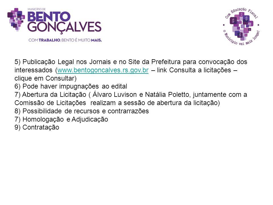5) Publicação Legal nos Jornais e no Site da Prefeitura para convocação dos interessados (www.bentogoncalves.rs.gov.br – link Consulta a licitações –