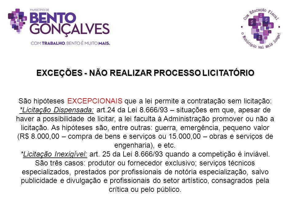 EXCEÇÕES - NÃO REALIZAR PROCESSO LICITATÓRIO São hipóteses EXCEPCIONAIS que a lei permite a contratação sem licitação: *Licitação Dispensada: art.24 d