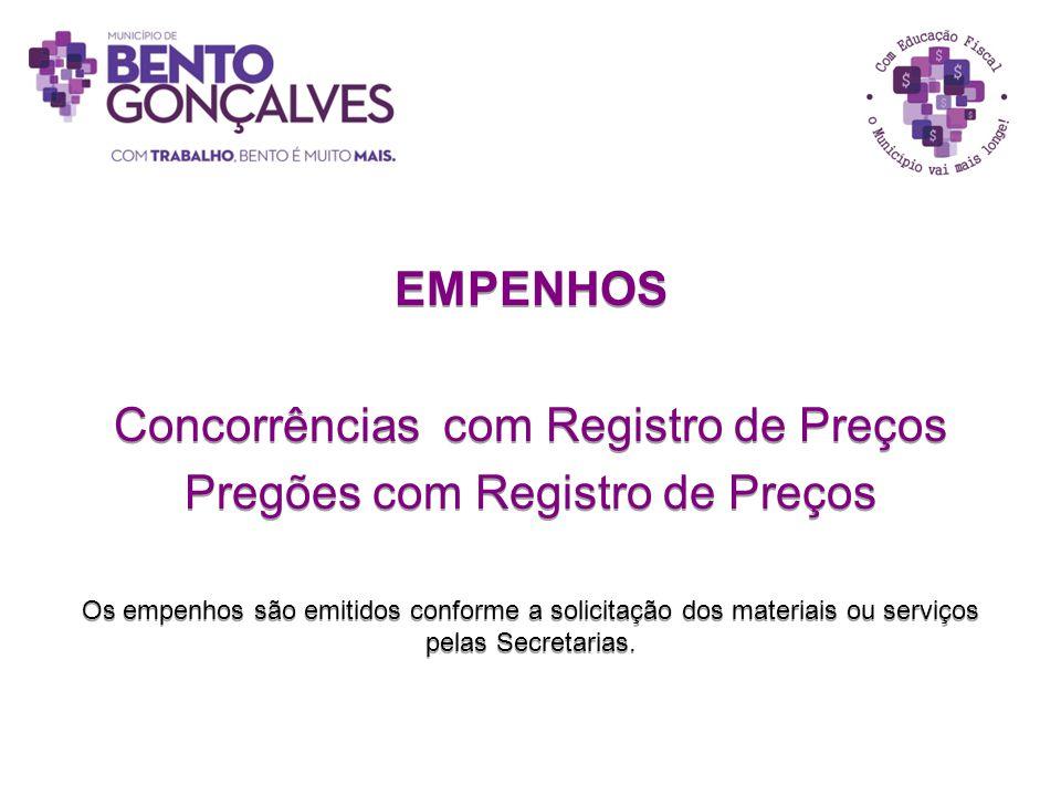 EMPENHOS Concorrências com Registro de Preços Pregões com Registro de Preços Os empenhos são emitidos conforme a solicitação dos materiais ou serviços