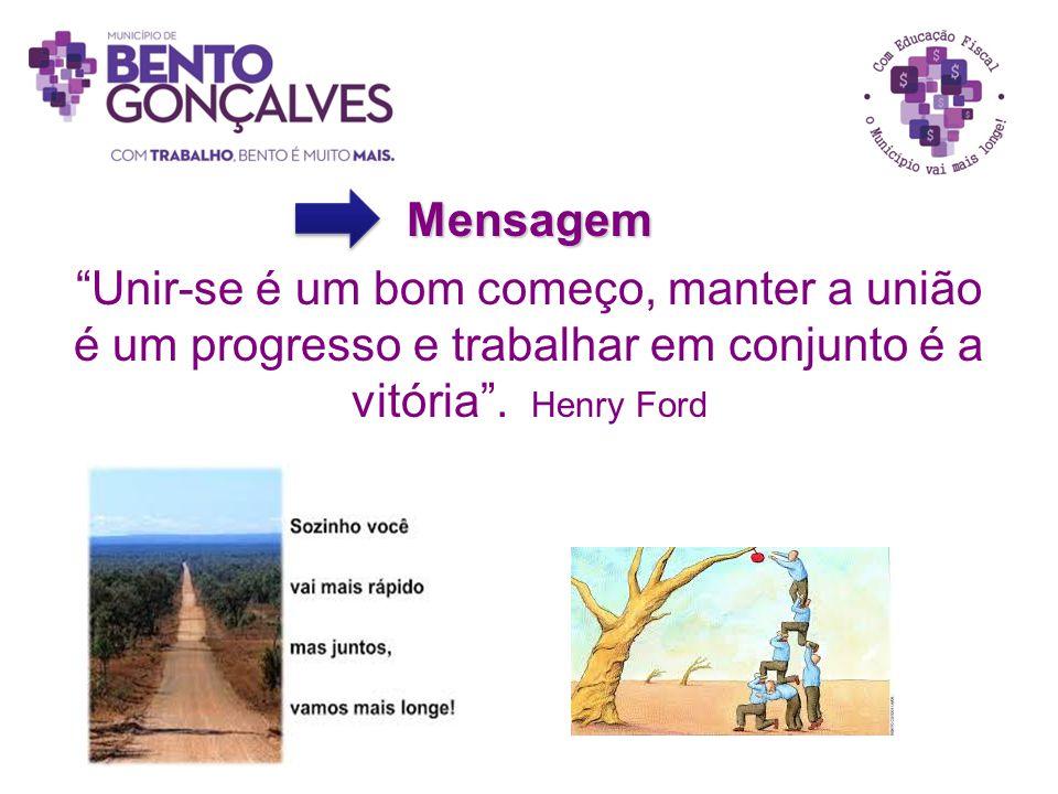 """Mensagem """"Unir-se é um bom começo, manter a união é um progresso e trabalhar em conjunto é a vitória"""". Henry Ford"""
