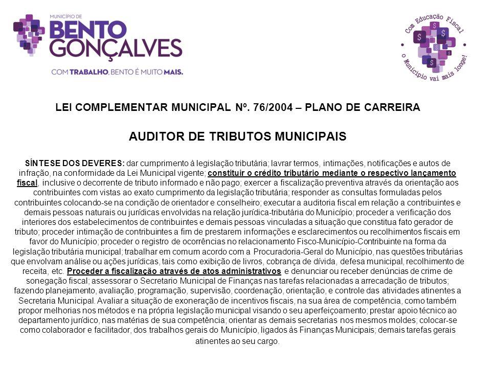 LEI COMPLEMENTAR MUNICIPAL Nº. 76/2004 – PLANO DE CARREIRA AUDITOR DE TRIBUTOS MUNICIPAIS SÍNTESE DOS DEVERES: dar cumprimento à legislação tributária