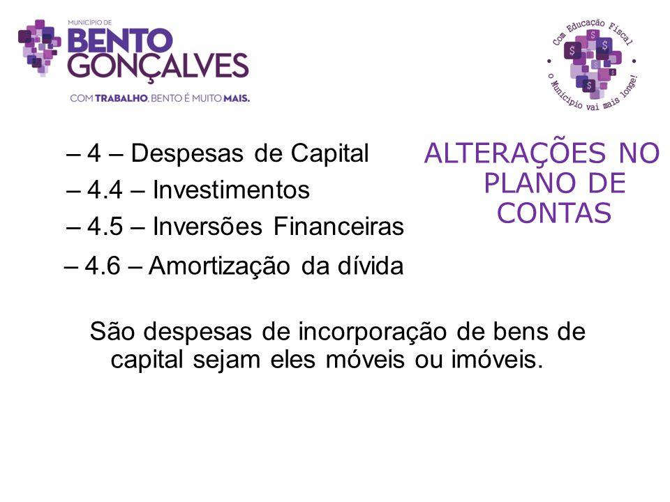 –4.6 – Amortização da dívida ALTERAÇÕES NO PLANO DE CONTAS –4.5 – Inversões Financeiras São despesas de incorporação de bens de capital sejam eles móv