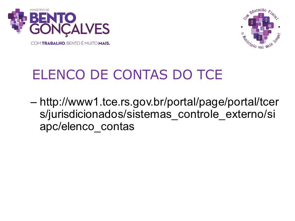 ELENCO DE CONTAS DO TCE –http://www1.tce.rs.gov.br/portal/page/portal/tcer s/jurisdicionados/sistemas_controle_externo/si apc/elenco_contas