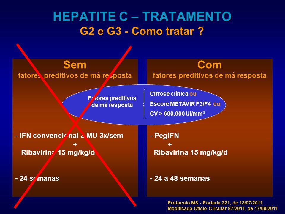 Sem fatores preditivos de má resposta - IFN convencional 3 MU 3x/sem + Ribavirina 15 mg/kg/d - 24 semanas Com fatores preditivos de má resposta - PegIFN + Ribavirina 15 mg/kg/d - 24 a 48 semanas HEPATITE C – TRATAMENTO Como tratar .
