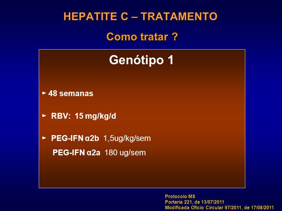 HEPATITE C – TRATAMENTO Como tratar ? Genótipo 1 ► 48 semanas ► RBV: 15 mg/kg/d ► PEG-IFN α2b 1,5ug/kg/sem PEG-IFN α2a 180 ug/sem Protocolo MS Portari