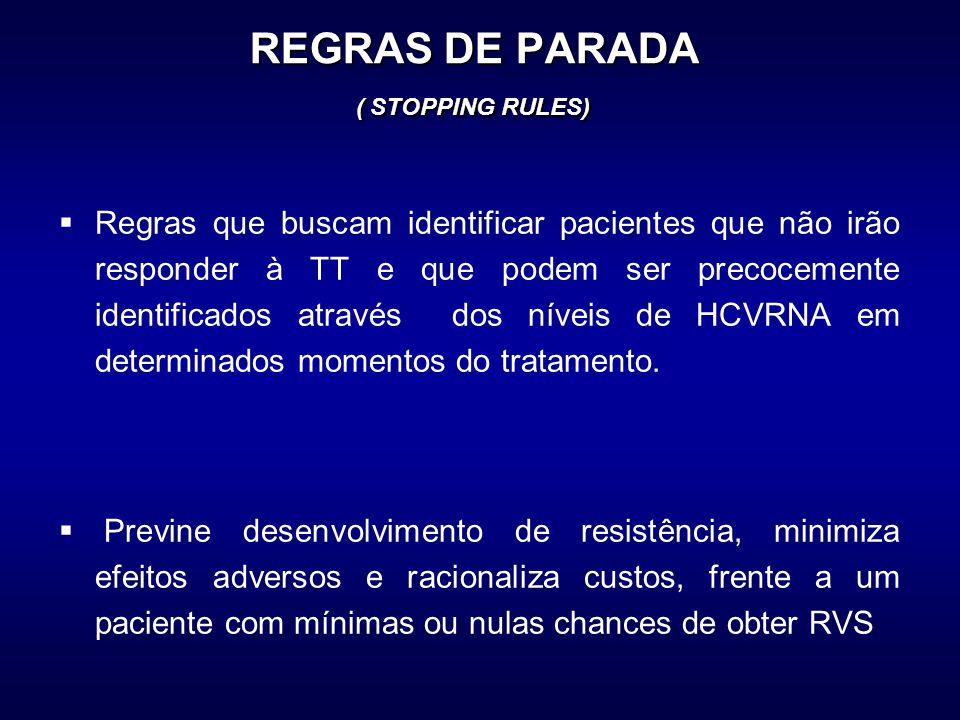 REGRAS DE PARADA ( STOPPING RULES)  Regras que buscam identificar pacientes que não irão responder à TT e que podem ser precocemente identificados através dos níveis de HCVRNA em determinados momentos do tratamento.