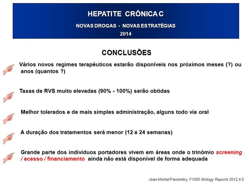 HEPATITE CRÔNICA C NOVAS DROGAS - NOVAS ESTRATÉGIAS 2014 CONCLUSÕES Vários novos regimes terapêuticos estarão disponíveis nos próximos meses (?) ou an