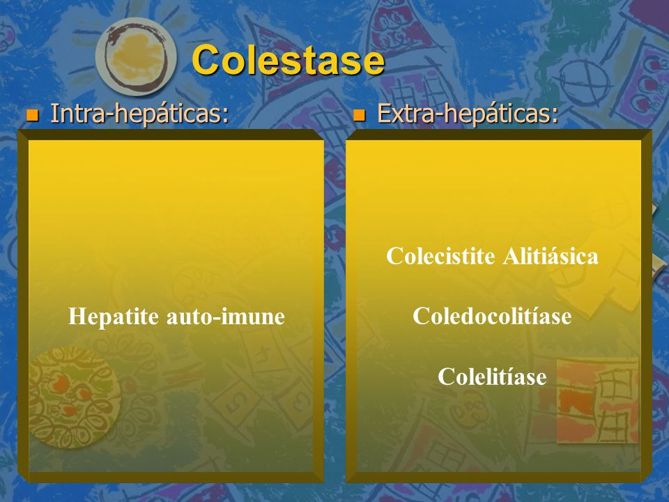Colestase Intra-hepáticas: Intra-hepáticas: Extra-hepáticas: Extra-hepáticas: Hepatite auto-imune Colecistite Alitiásica Coledocolitíase Colelitíase