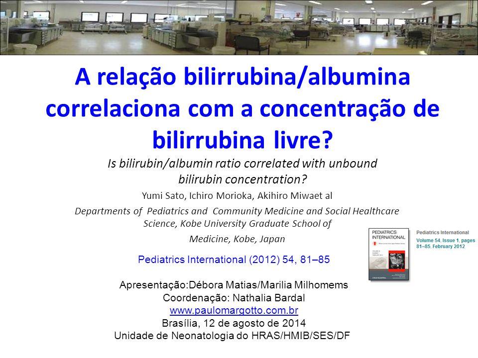 A relação bilirrubina/albumina correlaciona com a concentração de bilirrubina livre.