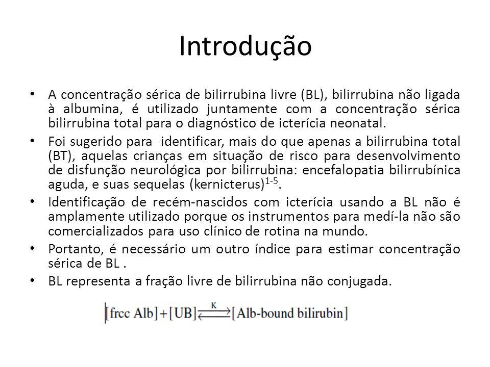 Introdução A relação entre a BL sérica, Albumina e Albumina ligada a bilirrubina pode ser expresso como a constante de ligação (K) = [bilirrubina Alb-bound] / [livre Alb] X [BL].