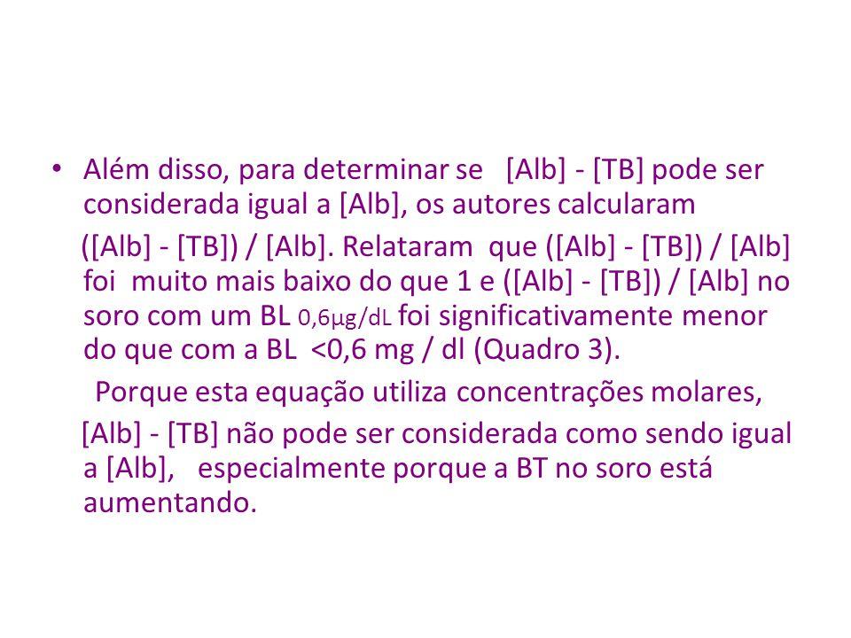 Além disso, para determinar se [Alb] - [TB] pode ser considerada igual a [Alb], os autores calcularam ([Alb] - [TB]) / [Alb].