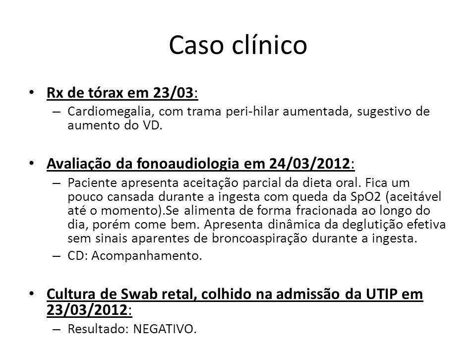 Caso clínico Rx de tórax em 23/03: – Cardiomegalia, com trama peri-hilar aumentada, sugestivo de aumento do VD. Avaliação da fonoaudiologia em 24/03/2