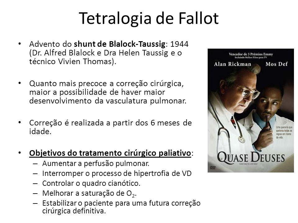 Tetralogia de Fallot Advento do shunt de Blalock-Taussig: 1944 (Dr. Alfred Blalock e Dra Helen Taussig e o técnico Vivien Thomas). Quanto mais precoce