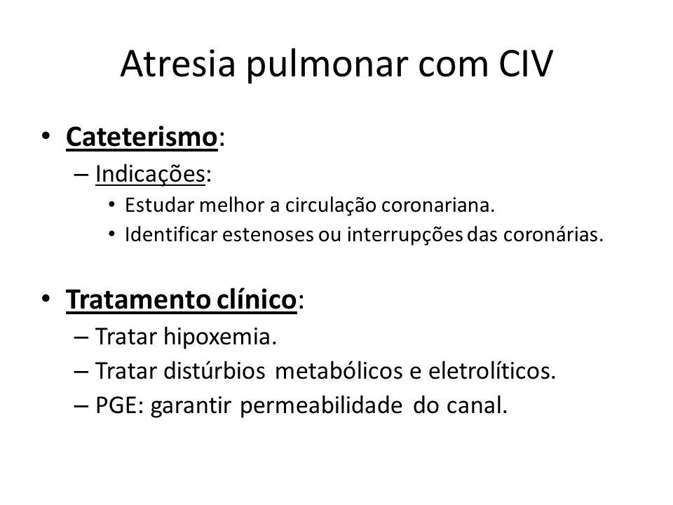 Atresia pulmonar com CIV Cateterismo: – Indicações: Estudar melhor a circulação coronariana. Identificar estenoses ou interrupções das coronárias. Tra