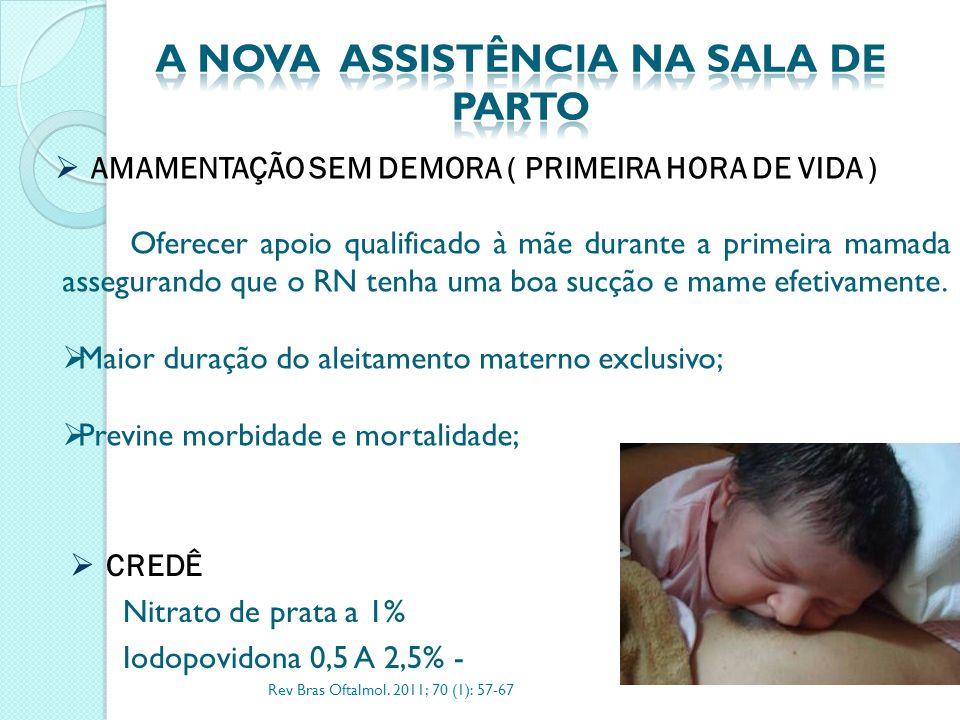 AMAMENTAÇÃO SEM DEMORA ( PRIMEIRA HORA DE VIDA ) Oferecer apoio qualificado à mãe durante a primeira mamada assegurando que o RN tenha uma boa sucçã