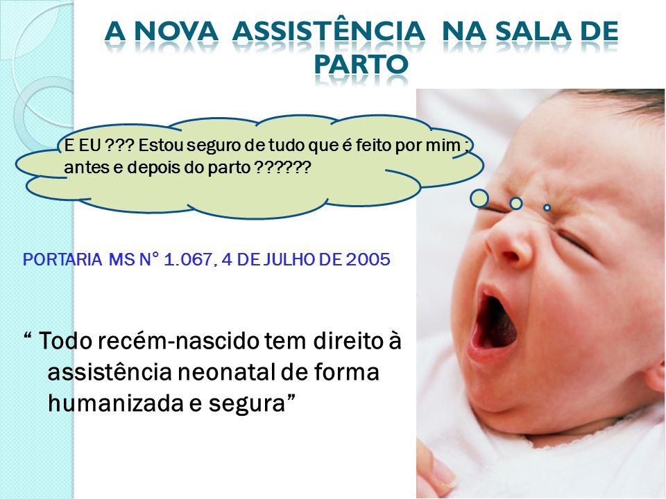 """E EU ??? Estou seguro de tudo que é feito por mim ; antes e depois do parto ?????? PORTARIA MS N° 1.067, 4 DE JULHO DE 2005 """" Todo recém-nascido tem d"""