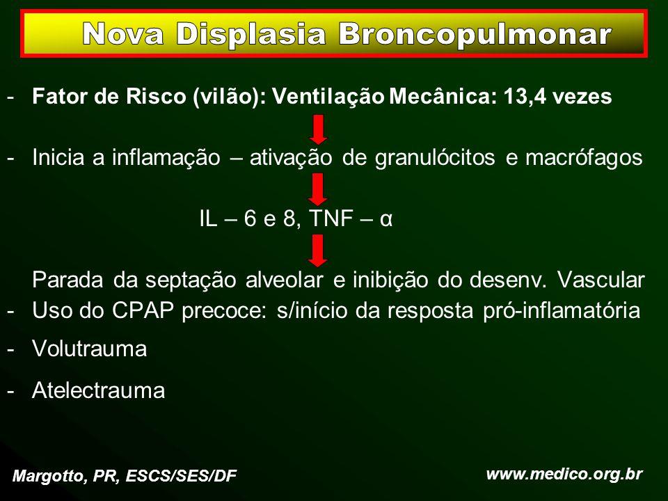 -Fator de Risco (vilão): Ventilação Mecânica: 13,4 vezes -Inicia a inflamação – ativação de granulócitos e macrófagos IL – 6 e 8, TNF – α Parada da se