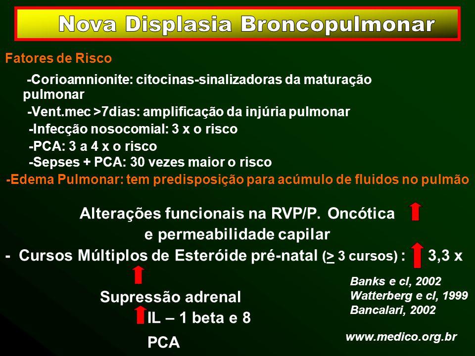 Fatores de Risco -Corioamnionite: citocinas-sinalizadoras da maturação pulmonar -Vent.mec >7dias: amplificação da injúria pulmonar -Infecção nosocomia