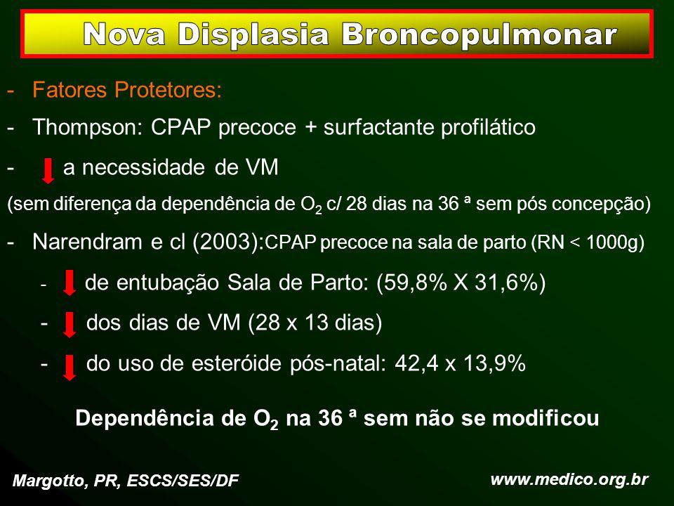 -Fatores Protetores: -Thompson: CPAP precoce + surfactante profilático - a necessidade de VM (sem diferença da dependência de O 2 c/ 28 dias na 36 ª s