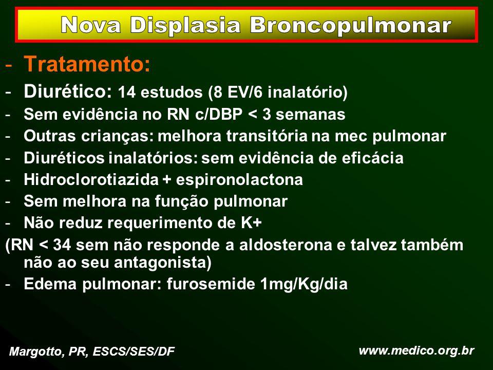 -Tratamento: -Diurético: 14 estudos (8 EV/6 inalatório) -Sem evidência no RN c/DBP < 3 semanas -Outras crianças: melhora transitória na mec pulmonar -