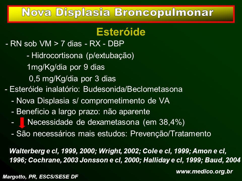 Esteróide - RN sob VM > 7 dias - RX - DBP - Hidrocortisona (p/extubação) 1mg/Kg/dia por 9 dias 0,5 mg/Kg/dia por 3 dias - Esteróide inalatório: Budeso