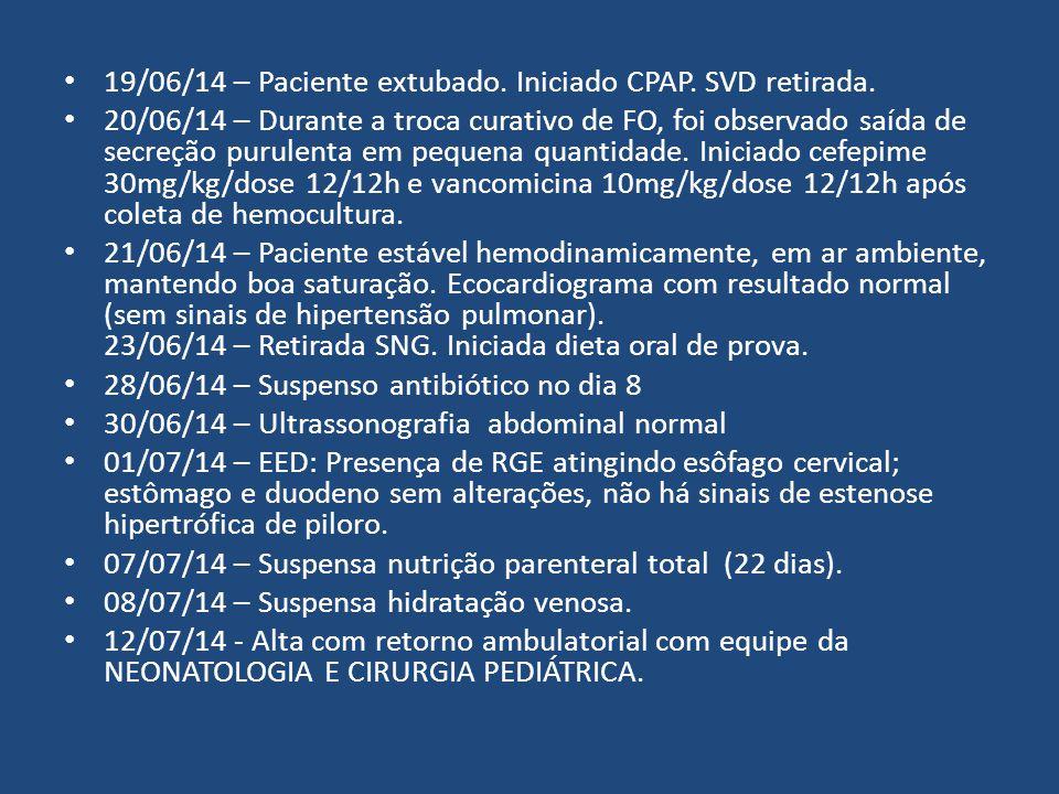 19/06/14 – Paciente extubado. Iniciado CPAP. SVD retirada. 20/06/14 – Durante a troca curativo de FO, foi observado saída de secreção purulenta em peq