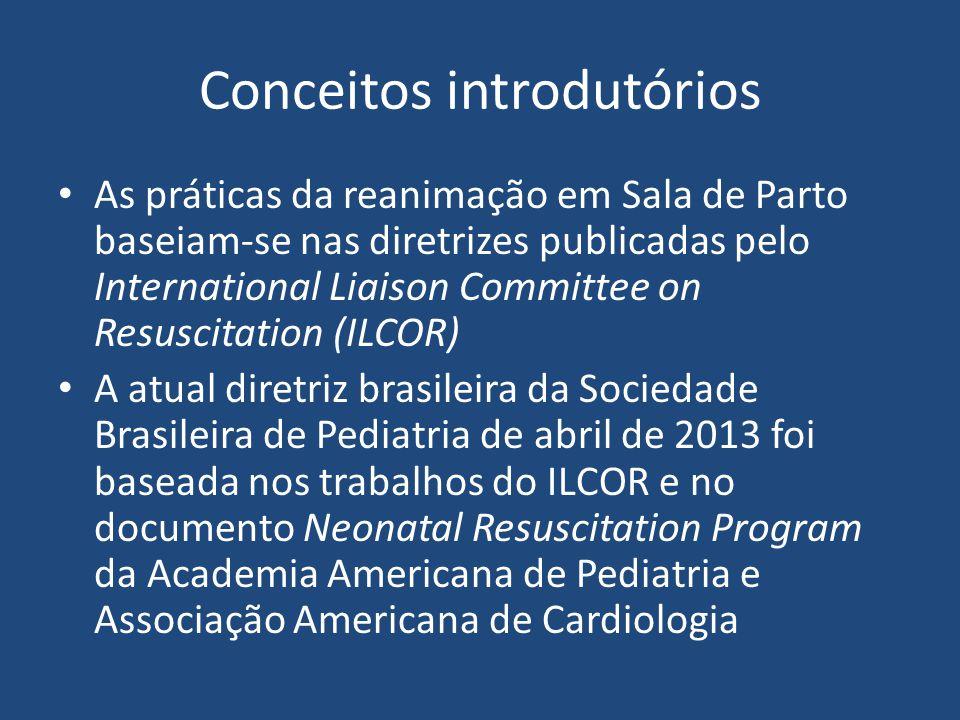 Conceitos introdutórios As práticas da reanimação em Sala de Parto baseiam-se nas diretrizes publicadas pelo International Liaison Committee on Res