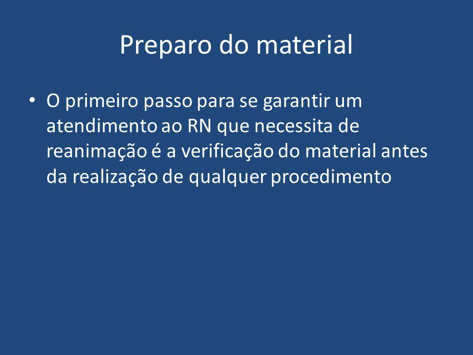 Preparo do material O primeiro passo para se garantir um atendimento ao RN que necessita de reanimação é a verificação do material antes da realização