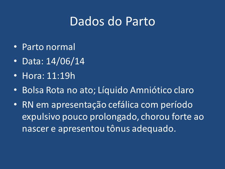 Dados do Parto Parto normal Data: 14/06/14 Hora: 11:19h Bolsa Rota no ato; Líquido Amniótico claro RN em apresentação cefálica com período expulsivo p
