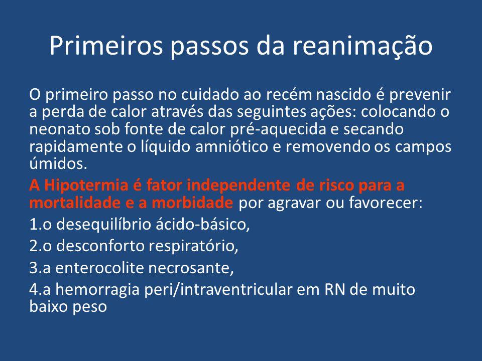 Primeiros passos da reanimação O primeiro passo no cuidado ao recém nascido é prevenir a perda de calor através das seguintes ações: colocando o neona