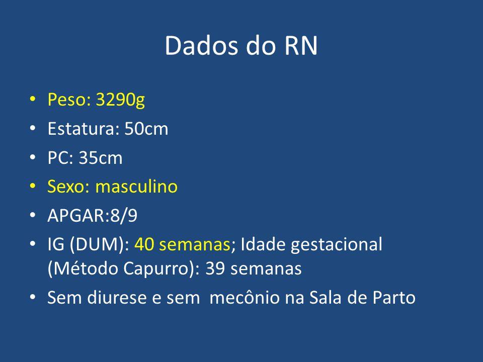 Dados do RN Peso: 3290g Estatura: 50cm PC: 35cm Sexo: masculino APGAR:8/9 IG (DUM): 40 semanas; Idade gestacional (Método Capurro): 39 semanas Sem diu