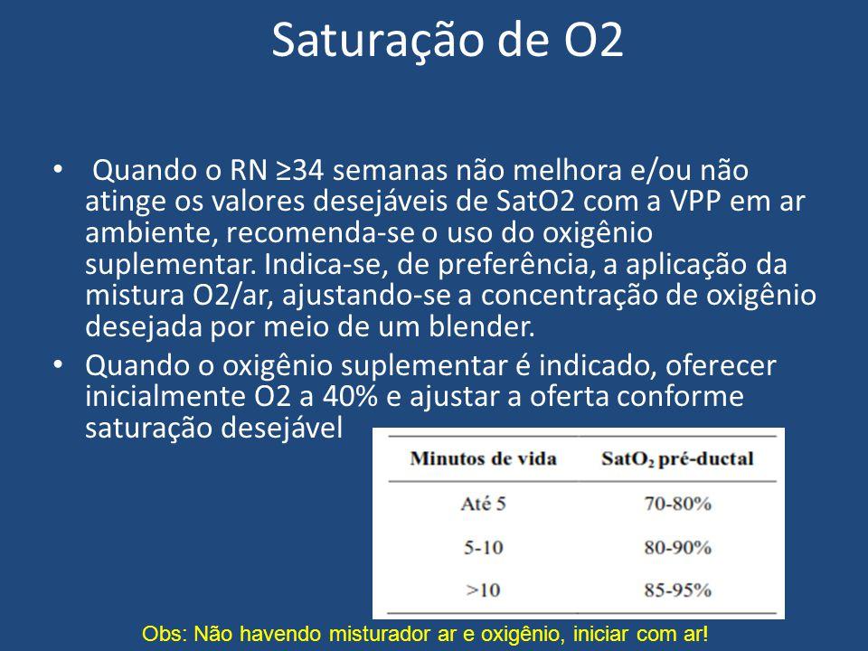 Saturação de O2 Quando o RN ≥34 semanas não melhora e/ou não atinge os valores desejáveis de SatO2 com a VPP em ar ambiente, recomenda-se o uso do oxi
