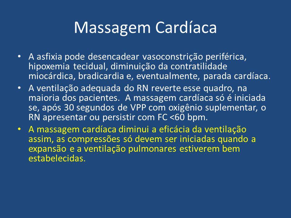 Massagem Cardíaca A asfixia pode desencadear vasoconstrição periférica, hipoxemia tecidual, diminuição da contratilidade miocárdica, bradicardia e, ev