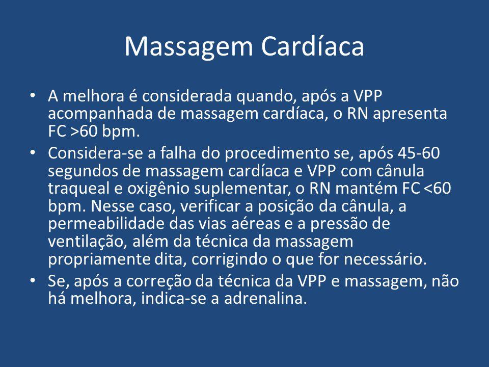 Massagem Cardíaca A melhora é considerada quando, após a VPP acompanhada de massagem cardíaca, o RN apresenta FC >60 bpm. Considera-se a falha do proc