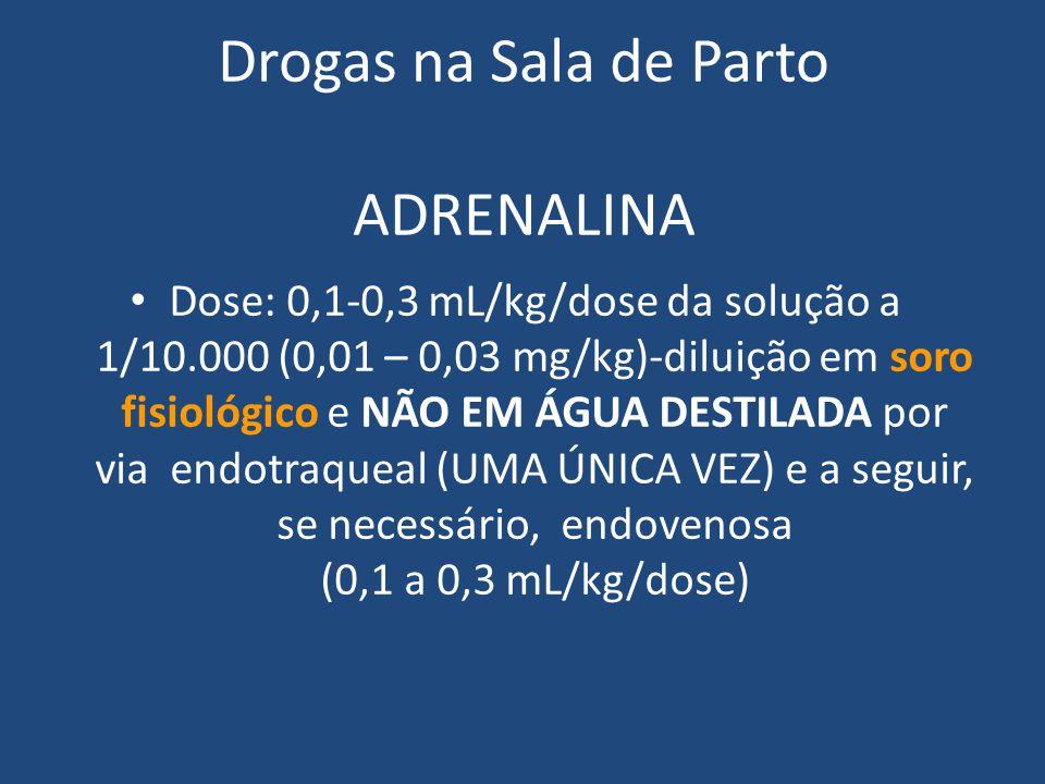 Dose: 0,1-0,3 mL/kg/dose da solução a 1/10.000 (0,01 – 0,03 mg/kg)-diluição em soro fisiológico e NÃO EM ÁGUA DESTILADA por via endotraqueal (UMA ÚNIC