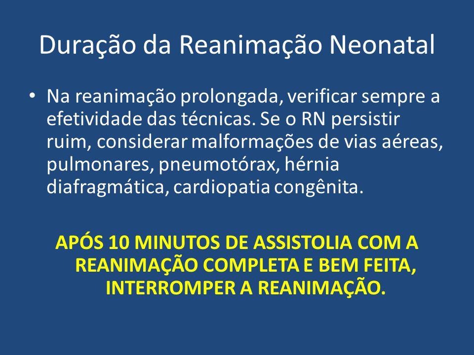 Duração da Reanimação Neonatal Na reanimação prolongada, verificar sempre a efetividade das técnicas. Se o RN persistir ruim, considerar malformações