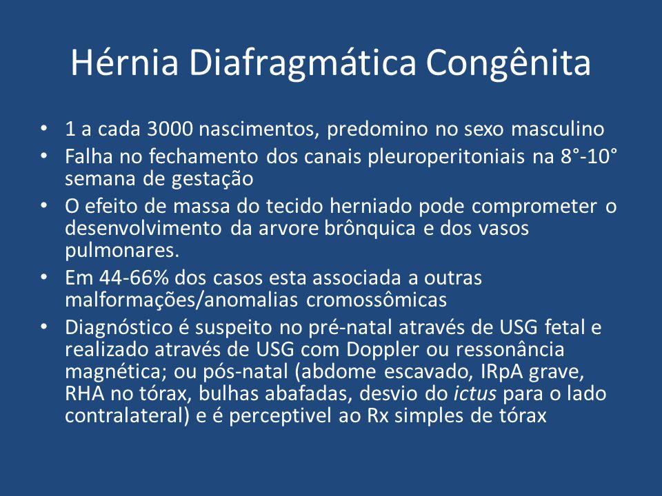 Hérnia Diafragmática Congênita 1 a cada 3000 nascimentos, predomino no sexo masculino Falha no fechamento dos canais pleuroperitoniais na 8°-10° seman