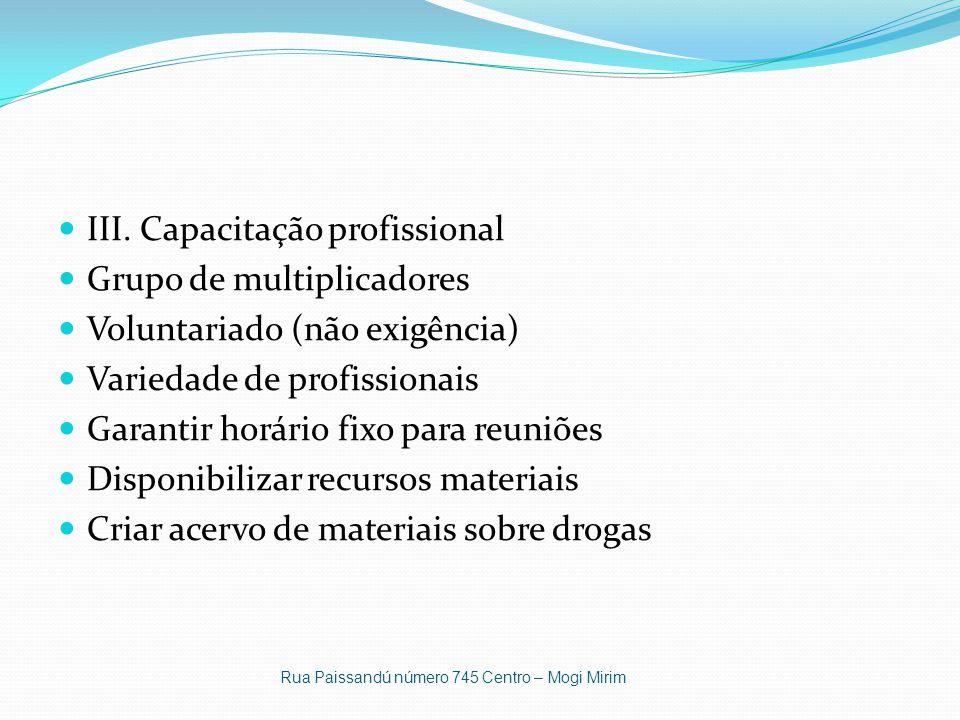 III. Capacitação profissional Grupo de multiplicadores Voluntariado (não exigência) Variedade de profissionais Garantir horário fixo para reuniões Dis